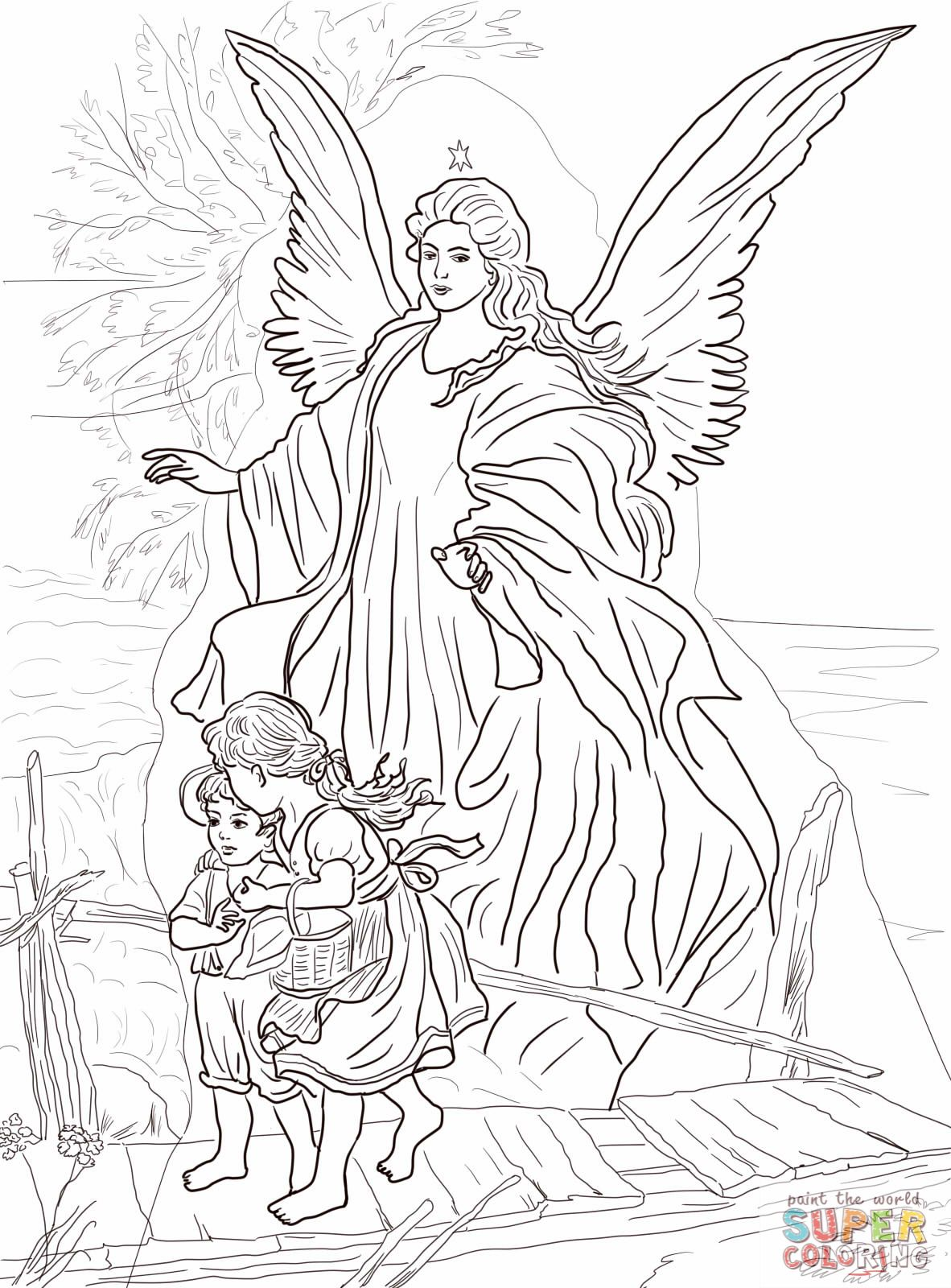Guardian Angel Watching Over Children Angel Coloring Pages