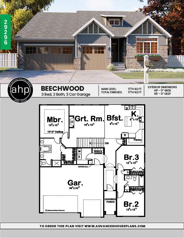 1 Story Craftsman House Plan Beechwood House Plans Craftsman House Plan Affordable House Plans