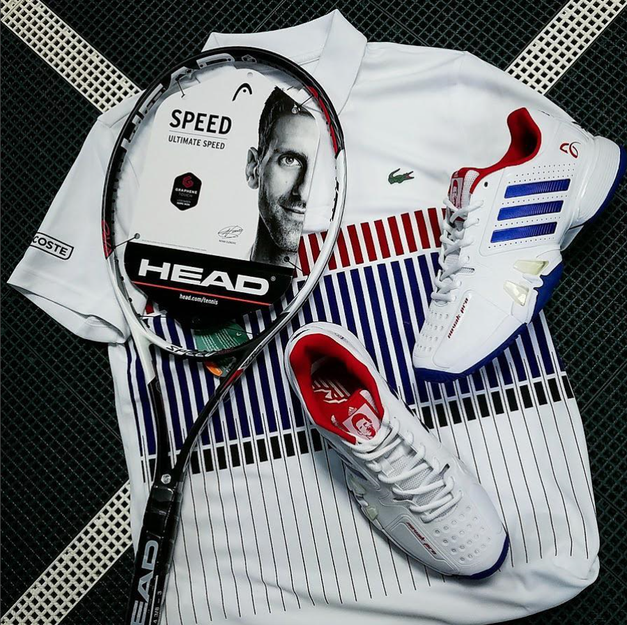 Novak Djokovic Lacoste Polo And Novak Pro Tennis Shoes With Head Graphene Touch Speed Pro Tennis Racquet