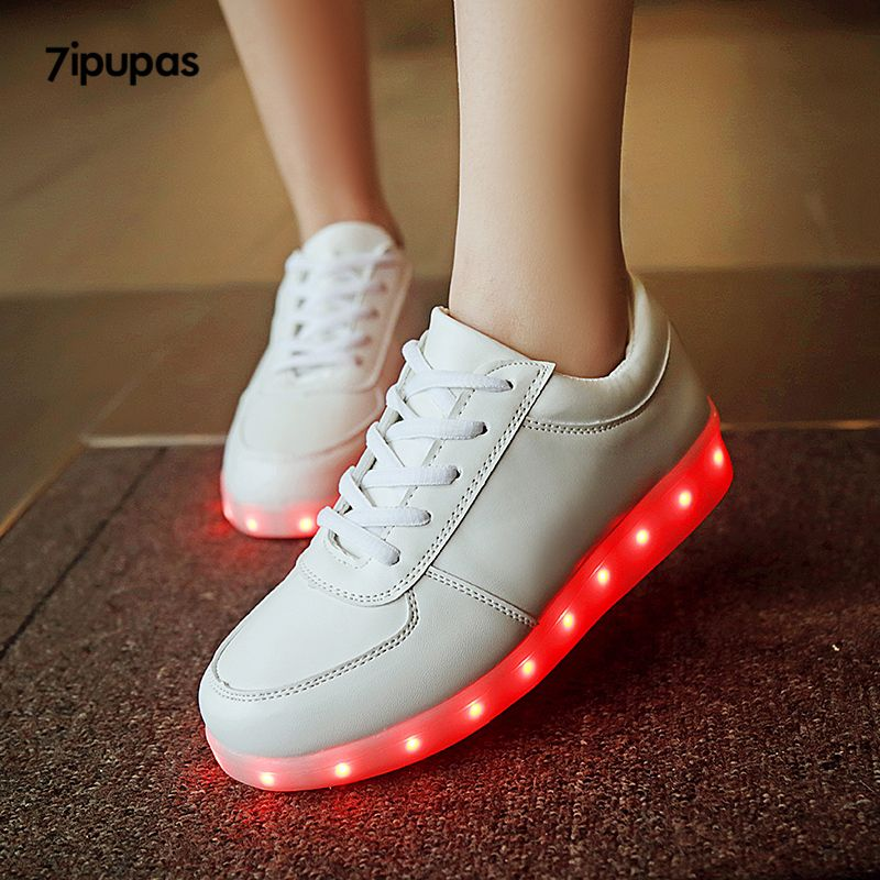 quality design 84da7 b725a Cool 7ipupas White Glowing sneakers 11 colors kids unisex Usb Charged Flash  of light up shoes boy Melbourne Shuffle Luminous sneakers -  - Buy it Now!