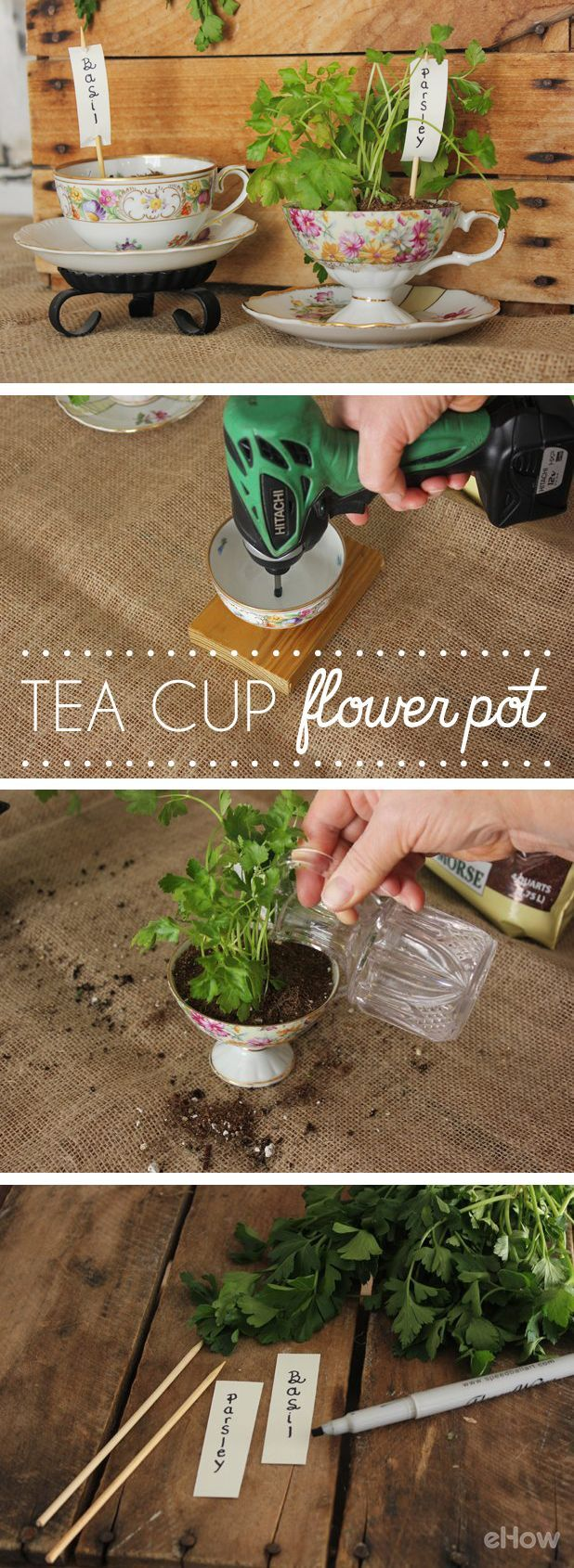 How to make a flower pot from a tea cup gardens vintage Kitchen windowsill herb pots