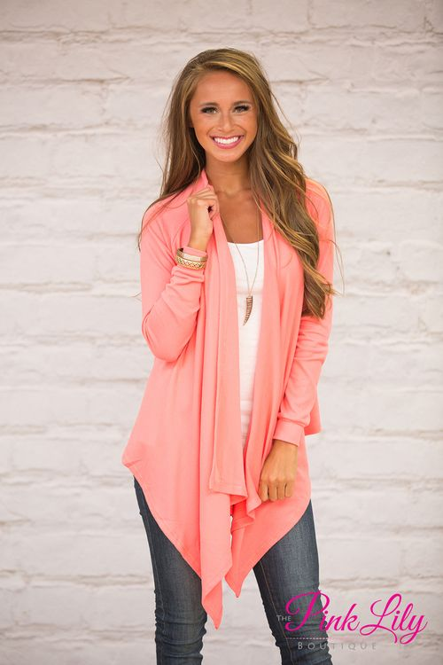 Claire Waterfall Cardigan Coral | Products | Pinterest | Products