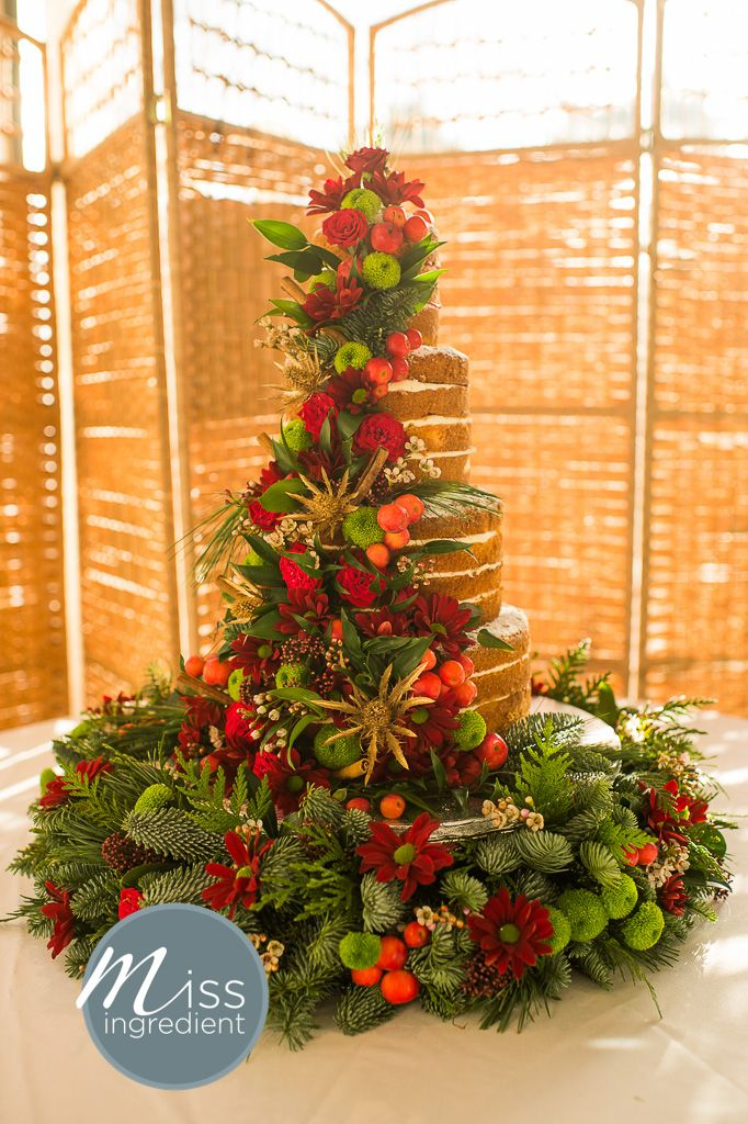 Naked Wedding Cake With Christmas Theme By Miss Ingredient Naked