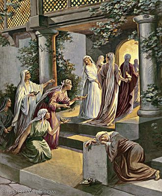 JESUS PARABLE OF THE 10 VIRGINS WISE FOOLISH PAINTING BIBLE ART CANVAS PRINT