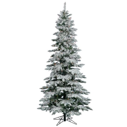 12 Ft Flocked Christmas Tree: Vickerman A895092 12 Ft. X 65 In. Flocked White On Green