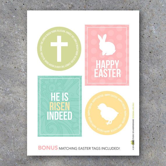 Easter treat toppers with bonus matching tags printable digital easter gift tags for easter baskets gifts home decor comes with matching treat negle Image collections