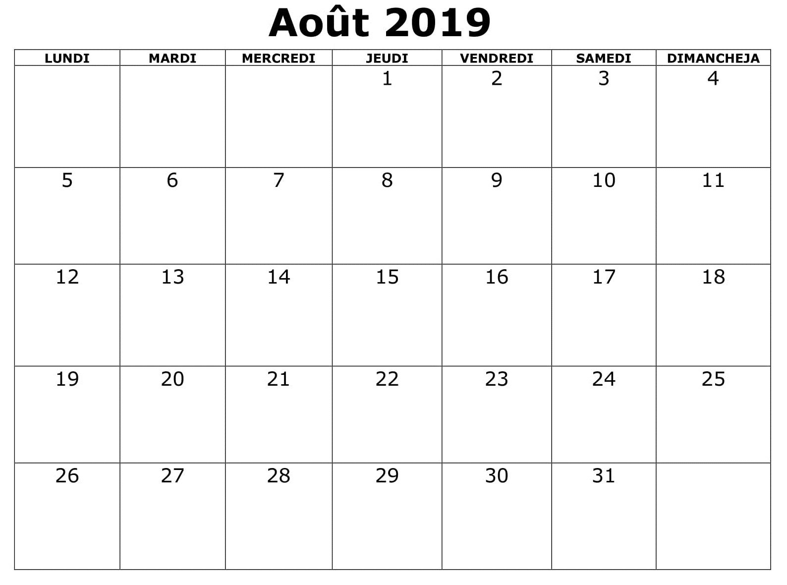Template Calendrier 2019.Aout Calendrier 2019 A Imprimer Excel April Calendar
