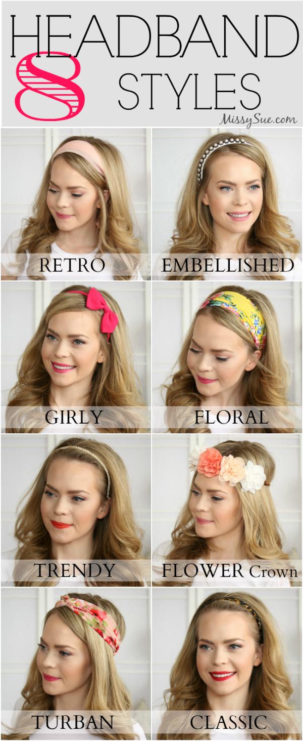 8 Headband Styles Headband Hairstyles Long Hair Styles Headband Styles