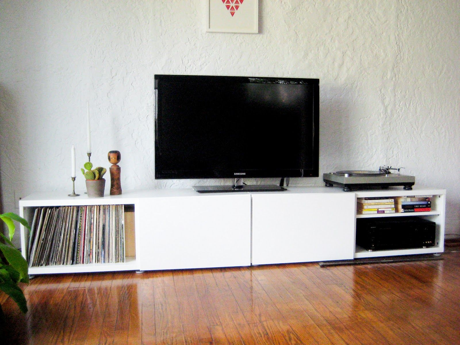 Record stand- put record storage on both sides and stain in deep ...