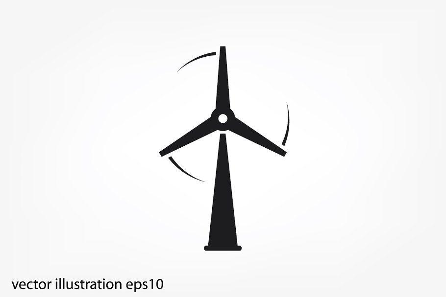 Wind Turbine Icon Vector Wind Turbine Turbine Wind