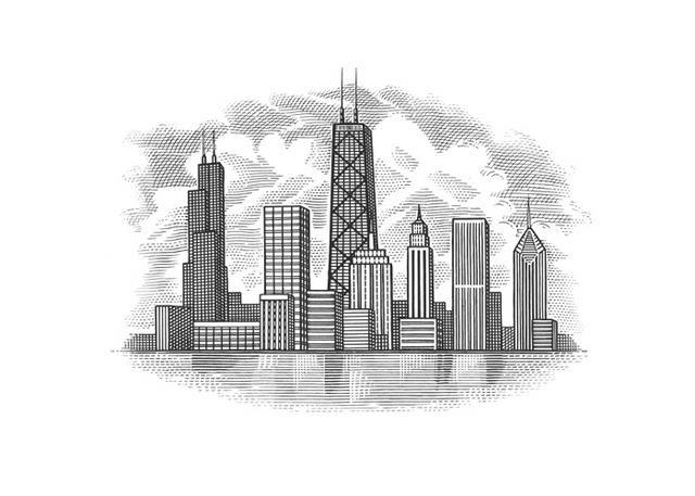 Steven Noble Illustrations Chicago Skyline Chicago Skyline Art Chicago Skyline Tattoo Chicago Wall Art