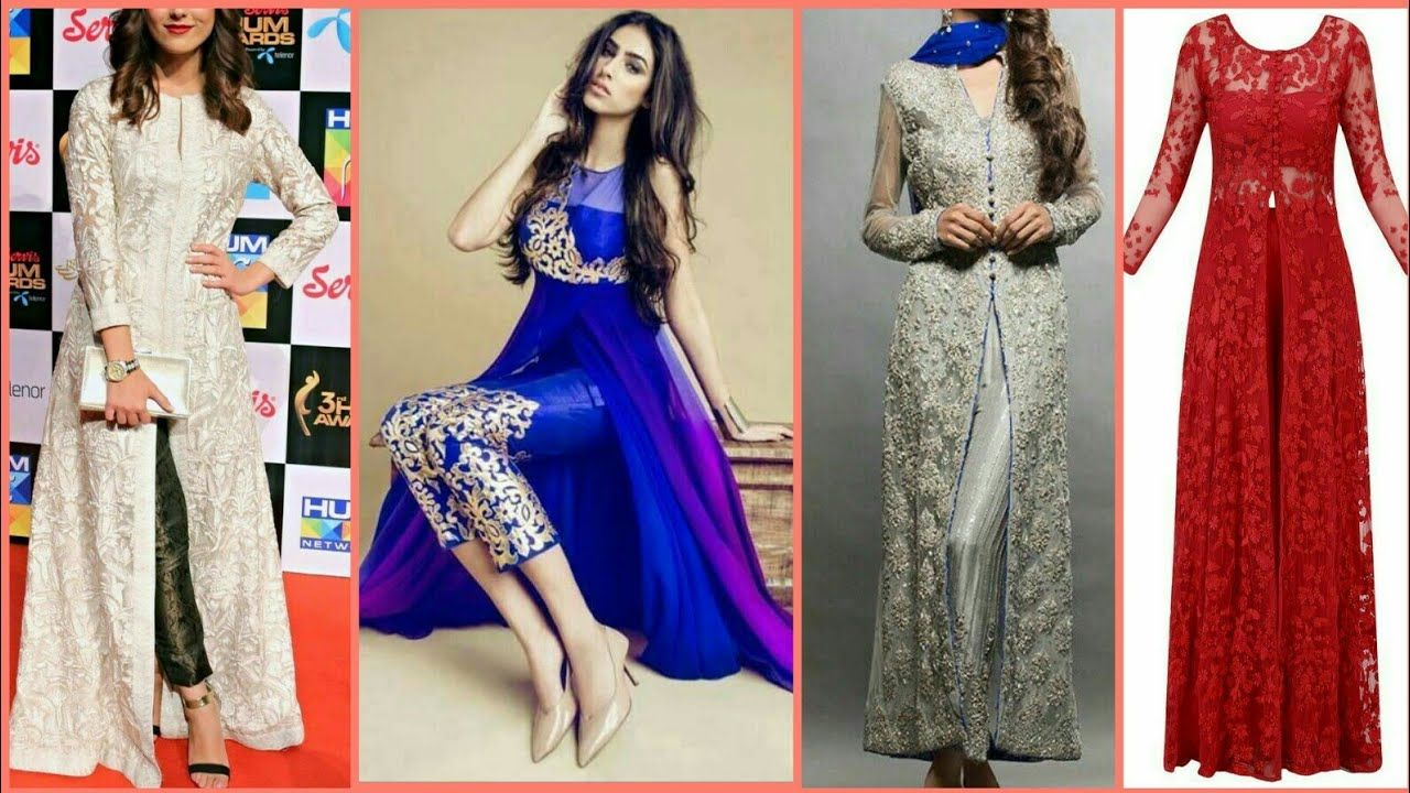 New Top Stylish Front Slit Party Wear Dress Designs For Girls 2018 ...