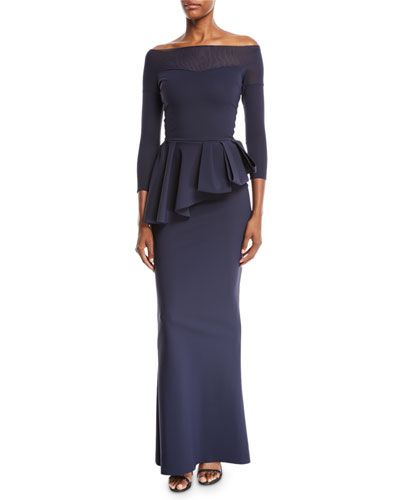 46e23ff7b7da Chiara Boni La Petite Robe Nabelle Off-the-Shoulder Illusion Gown w  Peplum  Waist