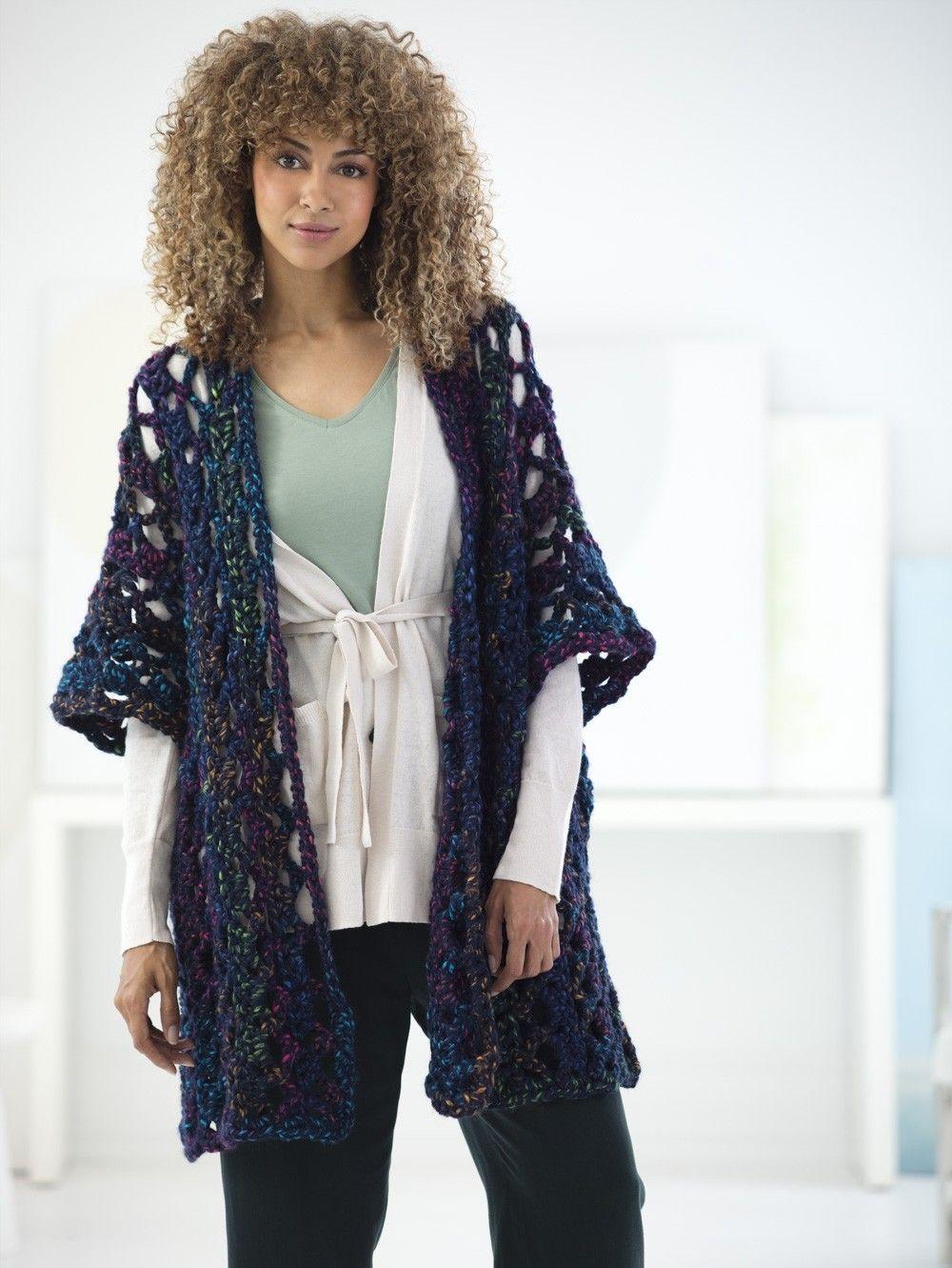 Openwork Ruana (Crochet)   crochet/jersey/moldes/rag rug/telar ...