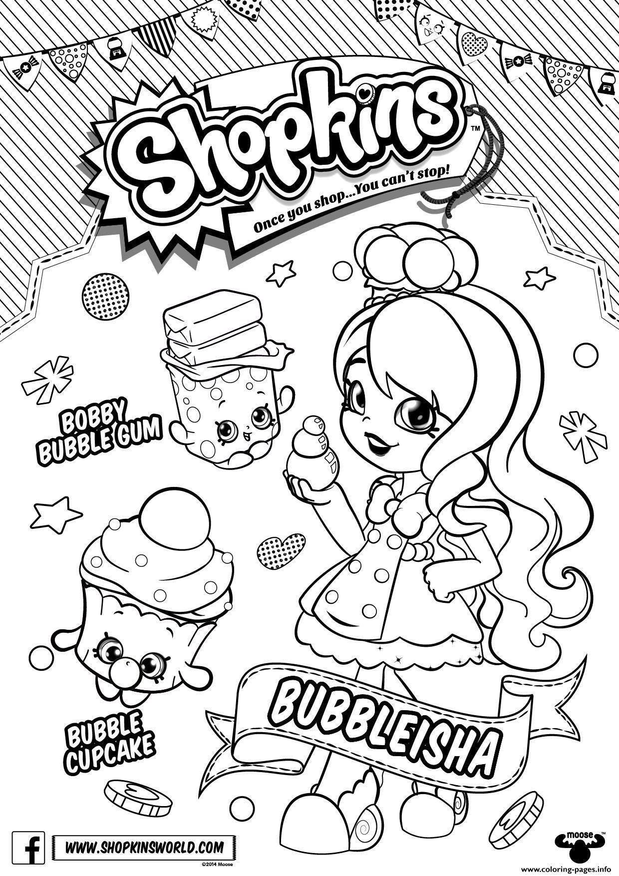 Print Bubbleisha Shopkins Shoppies With Bubble Gum Coloring Pages
