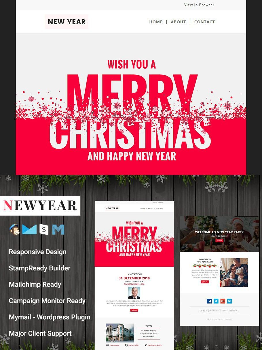 Newyear Responsive Email Template Responsive Email Template Email Templates Responsive Email Happy new years email template