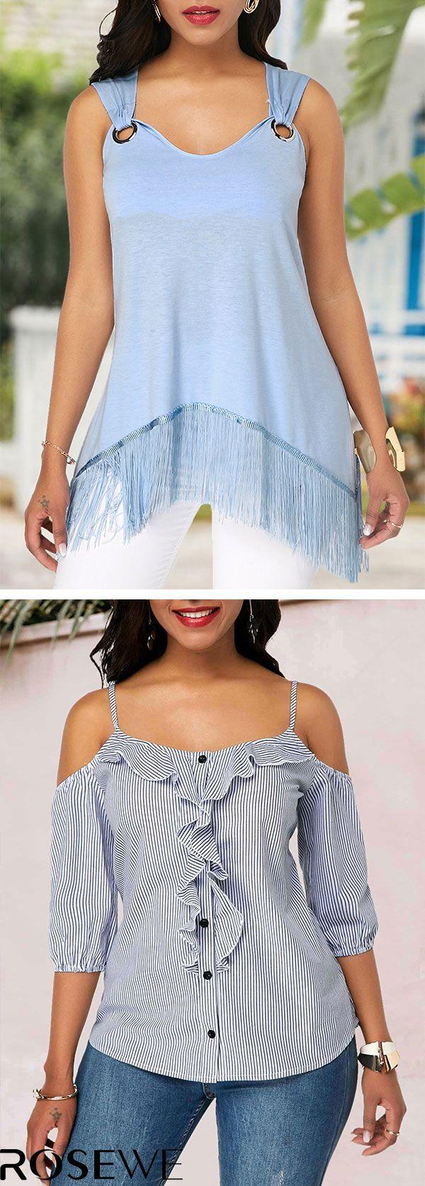 Hot Sale & Free Shipping. Tassel Hem Metal Ring Detail Sleeveless Blue Summer Chic Tunic Women Blouse -   19 diy storage for kids ideas