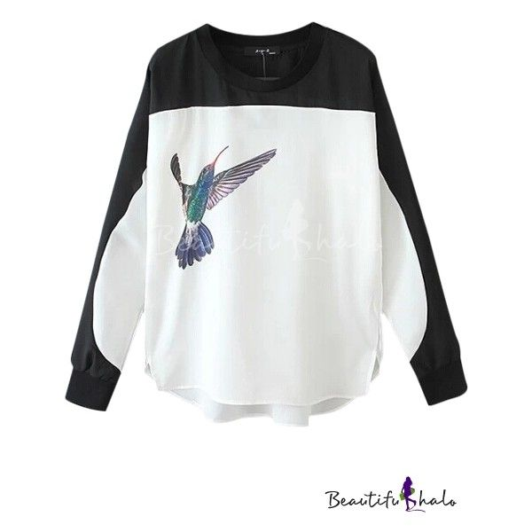 Color Block Flying Bird Print High Low Hem Round Neck Blouse (£13) ❤ liked  on Polyvore featuring tops, blouses, white blouse, shirts   blouses, bird  blouse ... 895f67a6e776