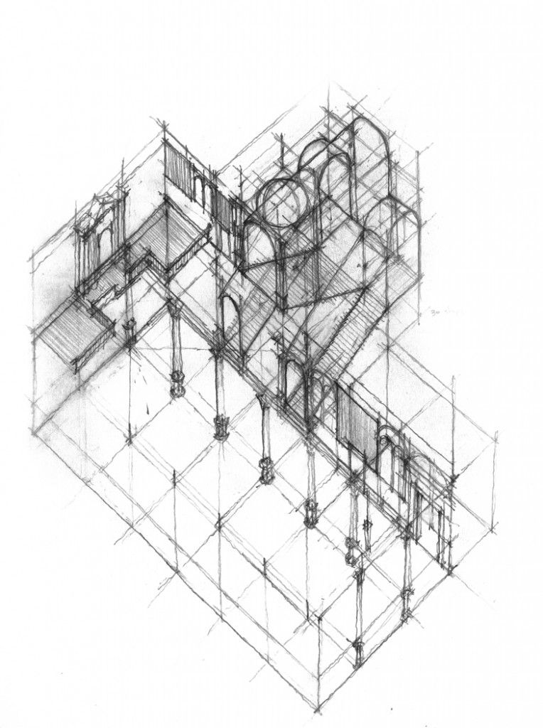 Daniel Mowery / Vicenza Drawing: Theater, Church & Basilica