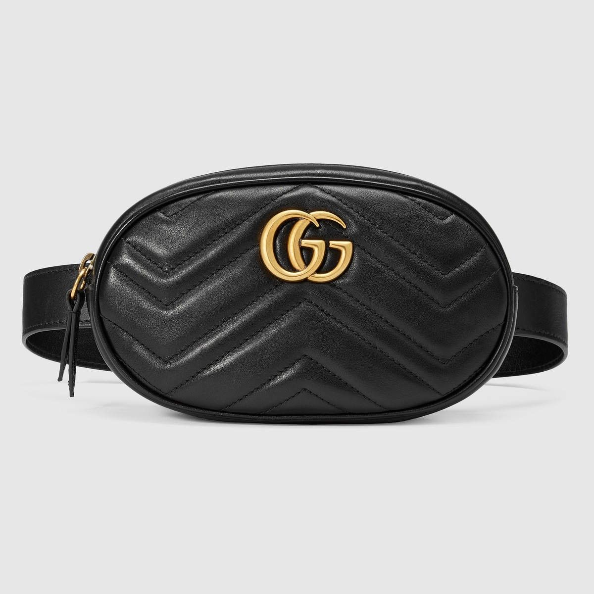 33edd9642f156 GUCCI Gg Marmont Matelassé Leather Belt Bag - Black Chevron Leather.  gucci   bags  leather  belt bags  lining