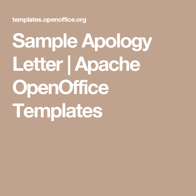 Sample Apology Letter  Apache Openoffice Templates  Letter