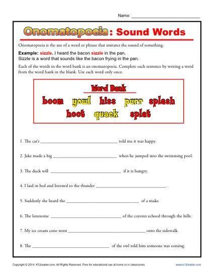 Onomatopoeia: Sound Words | Word free, Free printable worksheets ...