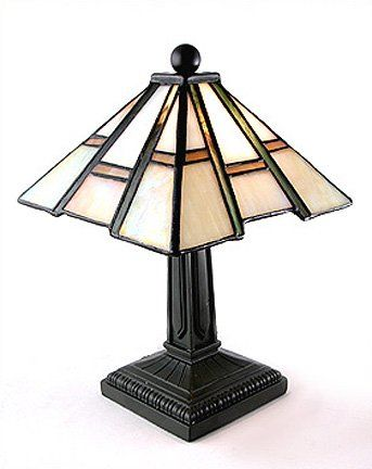 Mission Arts And Crafts Tiffany Style Stained Glass Mini Accent Lamp    Table Lamps   Amazon.com