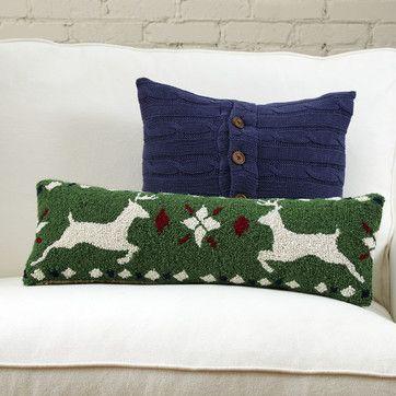 Reindeer Fair Isle Hooked Lumbar Pillow