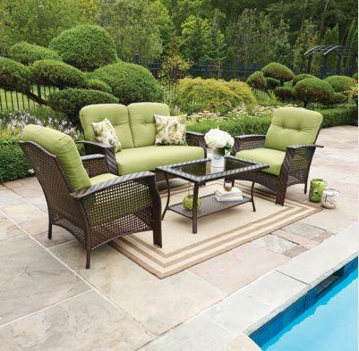 Hometrends Tuscany 4 Piece Conversation Set Green Walmart Ca Outdoor Living Patio Outdoor Furniture Sets Patio
