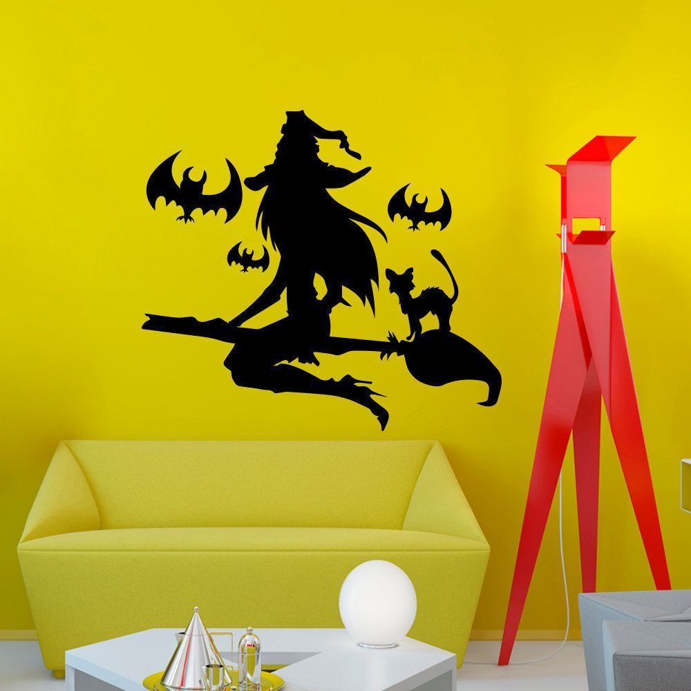 Witch on a Broomstick Wall Art Sticker Decal | Tattoos | Pinterest ...