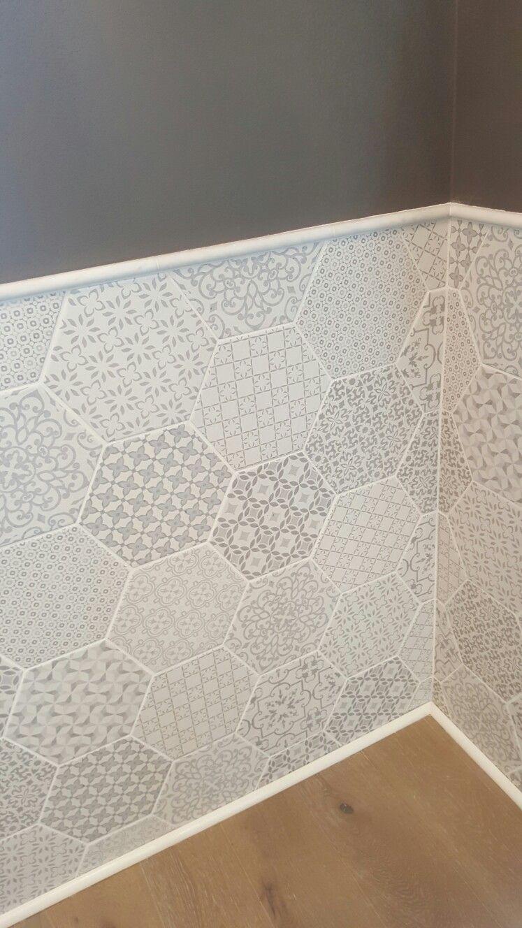 Milano hexagon tile as wainscoting in bathroom | bathroom in 2018 ...