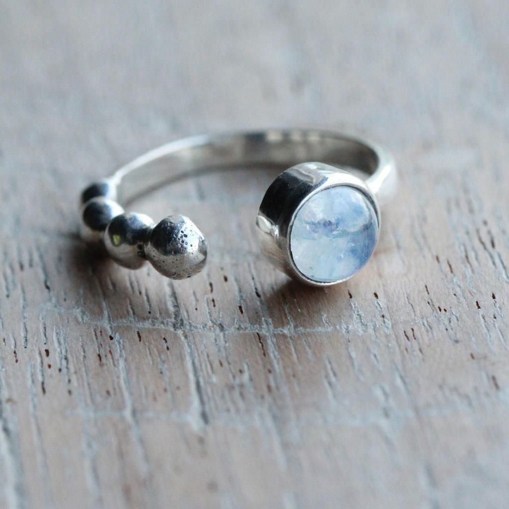Delicate Adjustable Moonstone Ring, Solid 925 Sterling Silver Boho ...