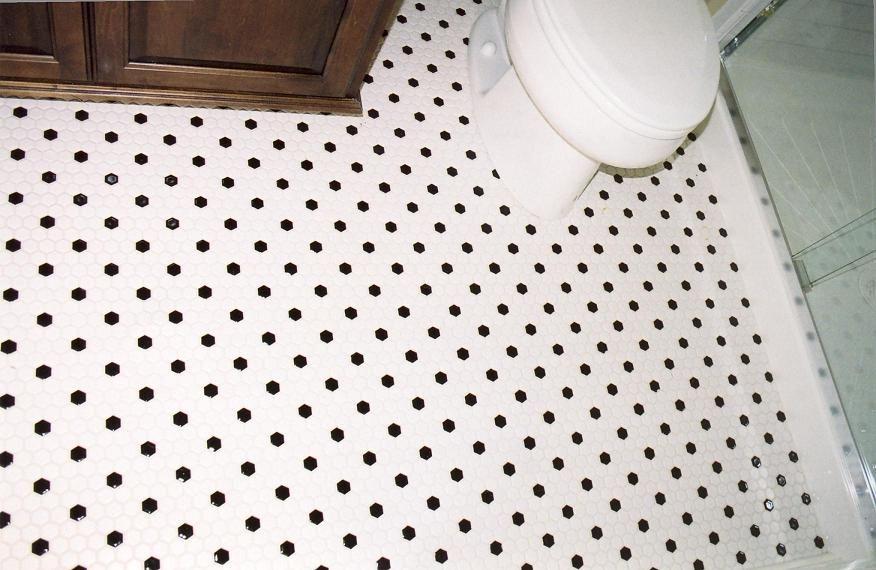 linoleum back white octagon 1x1 Hexagon Black and White cabin