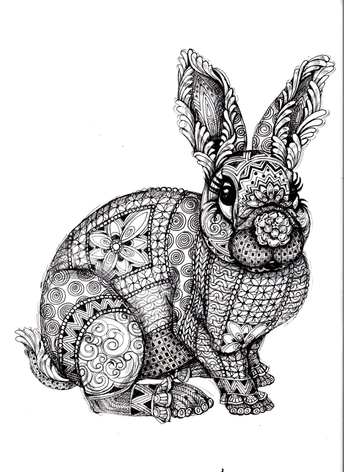 Free printable coloring pages rabbits - Difficult Rabbit Adult Coloring Page Printable Coloring Pages Sheets For Kids Get The Latest Free Difficult Rabbit Adult Coloring Page Images