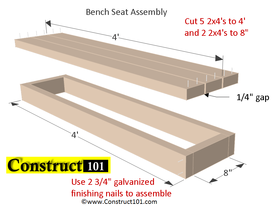 Planter Bench Plans Built With 2x4 S Free Pdf Construct101 Planter Bench Bench Plans Outdoor Bench Plans