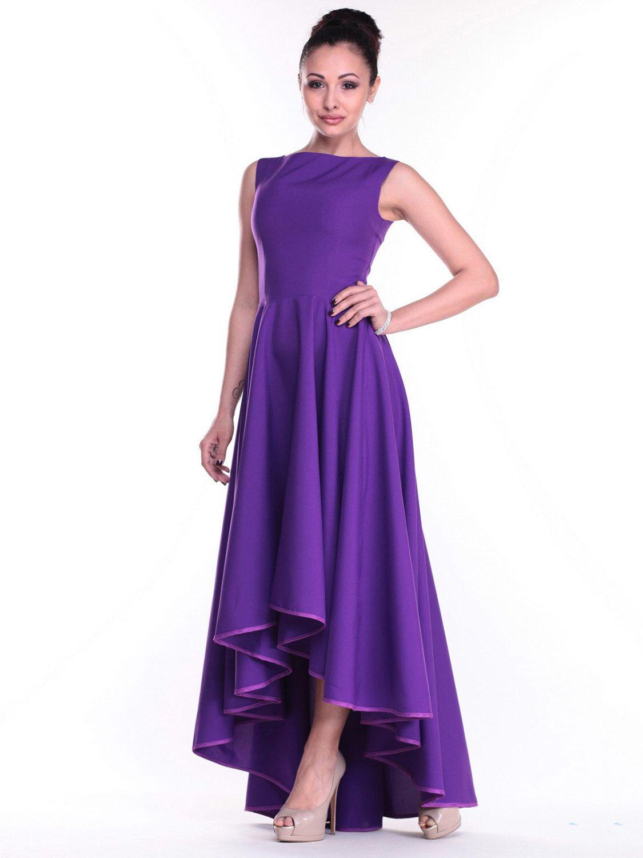 Lavender asymmetrical dress Maxi wedding dress Prom purple dress ...