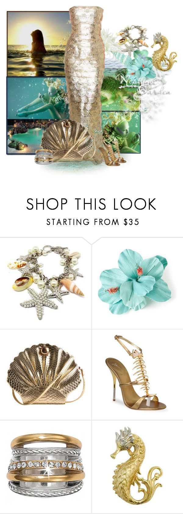 """""""Neptune's Garden"""" by the-house-of-kasin ❤ liked on Polyvore featuring Atlantis, Fantasy Jewelry Box, PAM, Many Belles Down, Giuseppe Zanotti, mermaid, UnderTheSea, gownsgalore and mermaidlife"""
