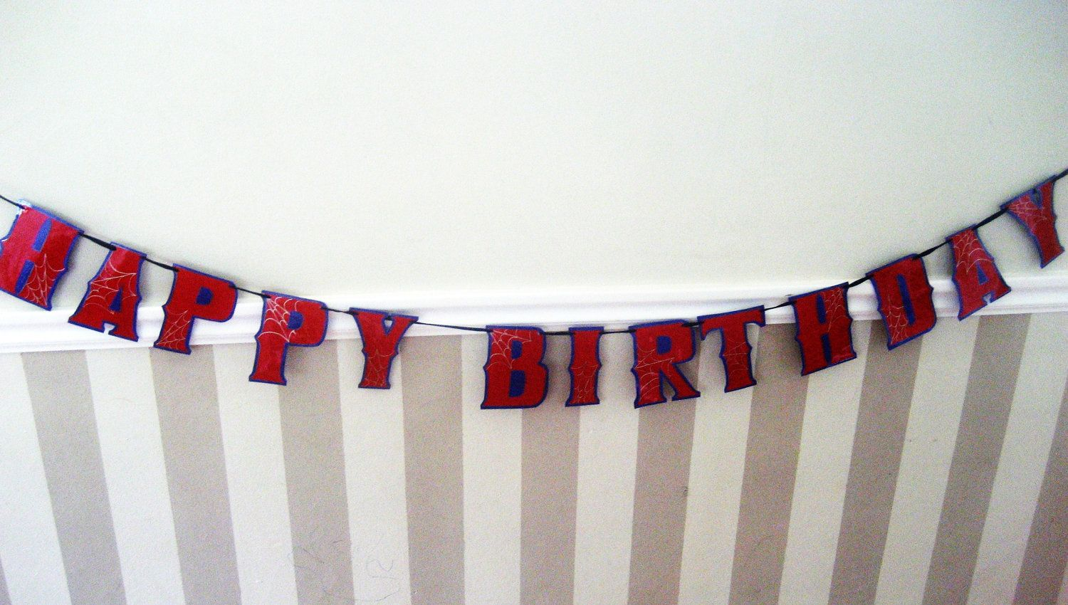 Spiderman HAPPY BiRTHDAY Banner Red on Blue with Silver by Devany. $15.00, via Etsy.