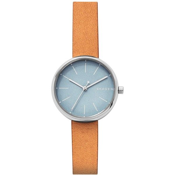 Skagen Women's Signature Tan Leather Strap Watch 30mm SKW2620 (£89) ❤ liked on Polyvore featuring jewelry, watches, brown, brown jewelry, skagen watches, blue dial watches, skagen jewellery and skagen