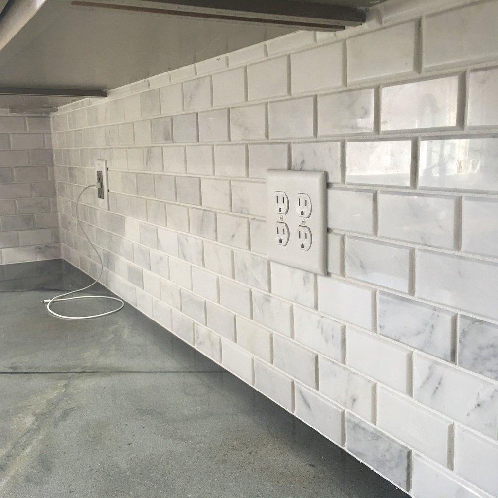 Carrara Venato Marble Mosaic Tile In Beveled 2x4 Mini Brick Subway Tiles Pattern Polished Beveled Subway Tile Beveled Subway Tile Backsplash Backsplash