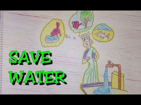 Drawing tutorial drawing on save water poster easy drawing creative ideas
