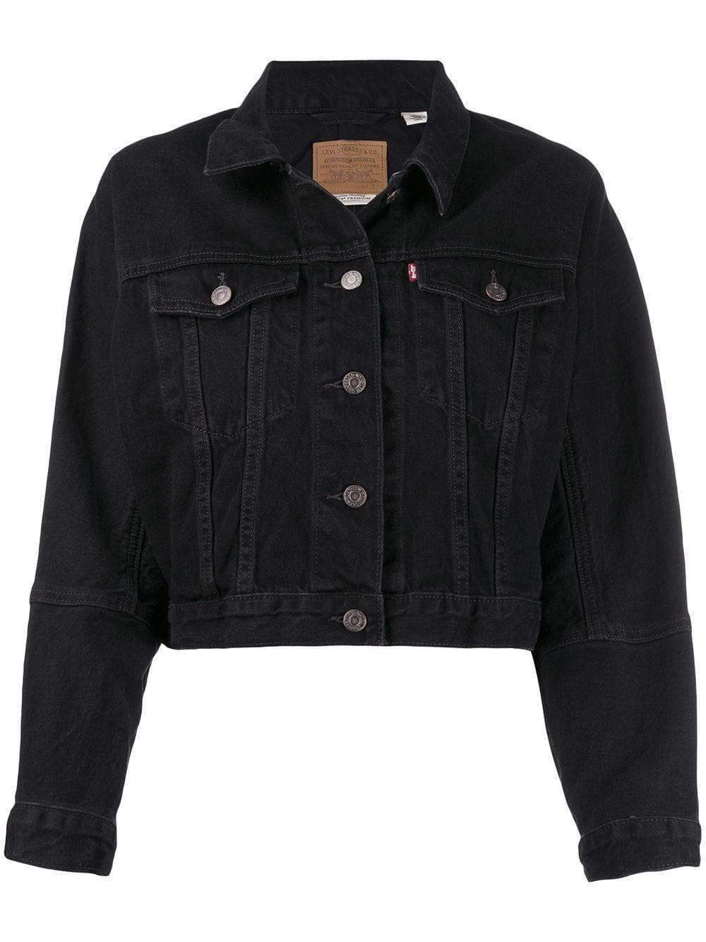 Levi S Cropped Denim Jacket Farfetch Cropped Denim Jacket Denim Jacket Women Denim Jacket [ 1334 x 1000 Pixel ]