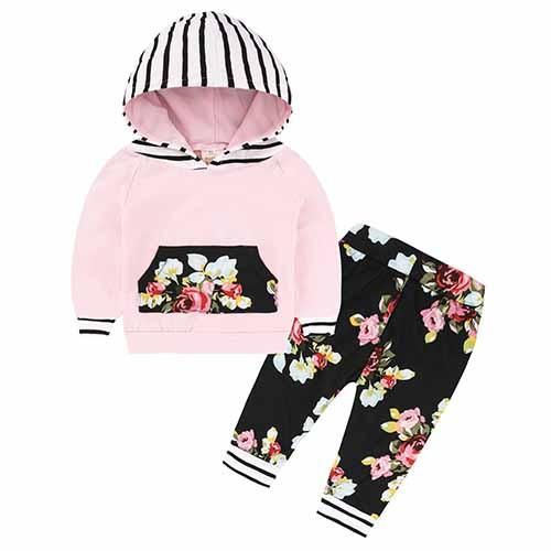 611b655b4530a Children Baby Girls Long Sleeve Hooded Tops Floral pants Cute Baby Boy  Outfits, Kids Outfits