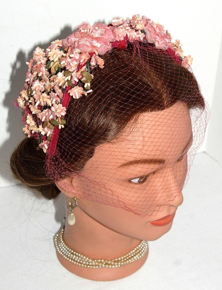 436dff1be0a53 Vintage Velvet Pink Flowers Headband Cocktail Fascinator Dress Hat with  Veil 1950s 1960s