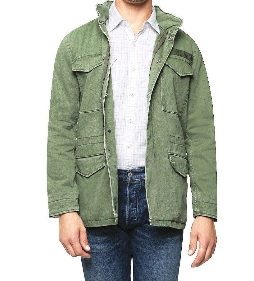 New Levis Mens 29660 Army Green Military Style Field Zip Up