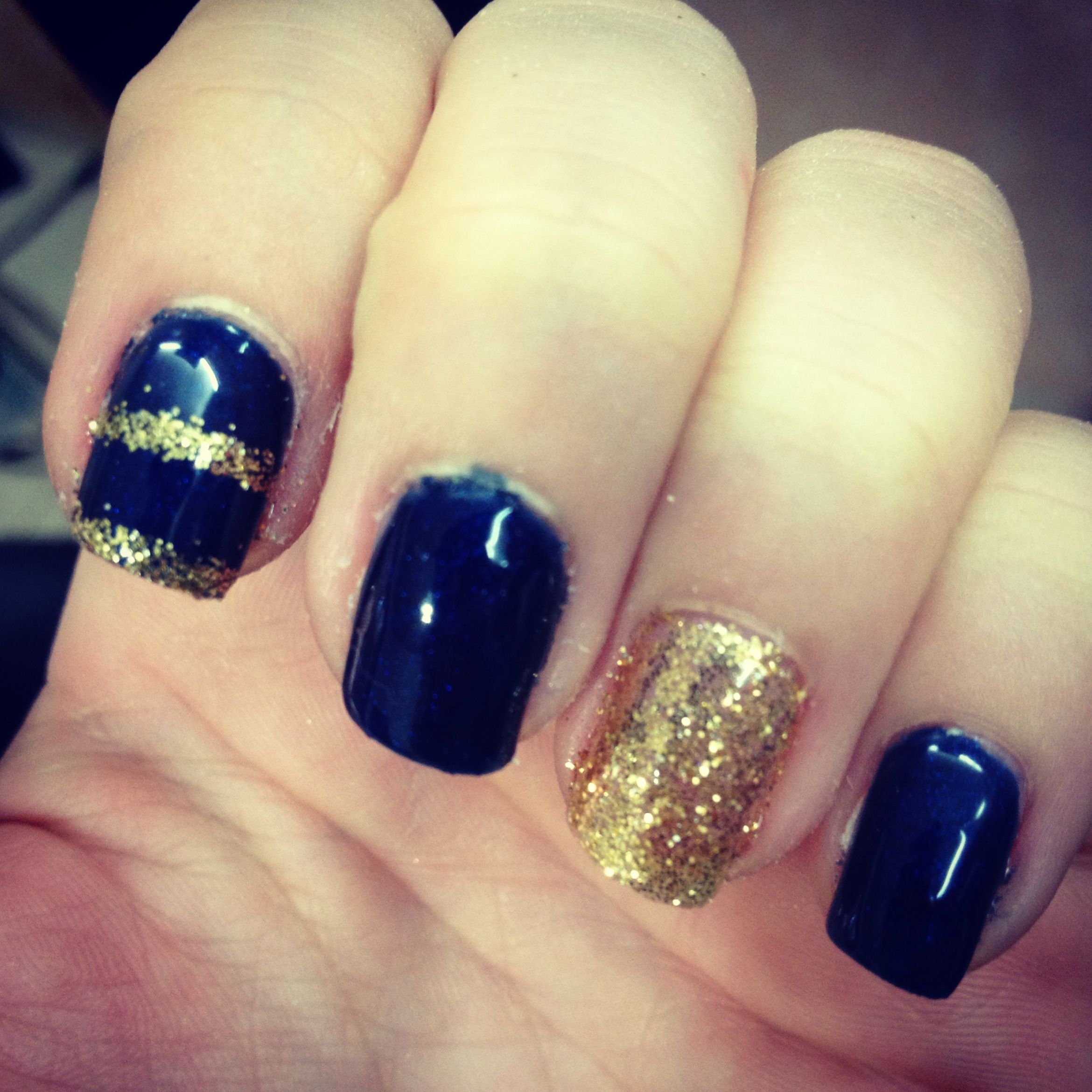 Navy blue and gold nails | Fashion | Pinterest | Gold nail, Makeup ...