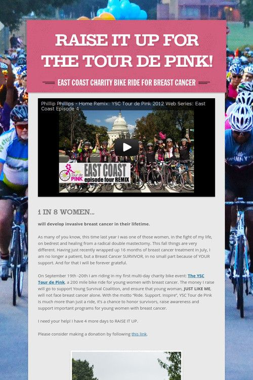 Please consider making a donation to my first ever charity bike ride. THIS WEEKEND I'll be riding from Philadelphia, PA all the way to Assateague Island, MD. I ride in memory of my friend Claudia and in honor of my friend Usha, for all the women who are fighting, for all the women who will be diagnosed in the future, and in CELEBRATION of the end of my own fight. Follow me and my ride on Instagram with the hashtags #mytourdepink, and thank you, thank you, thank you!