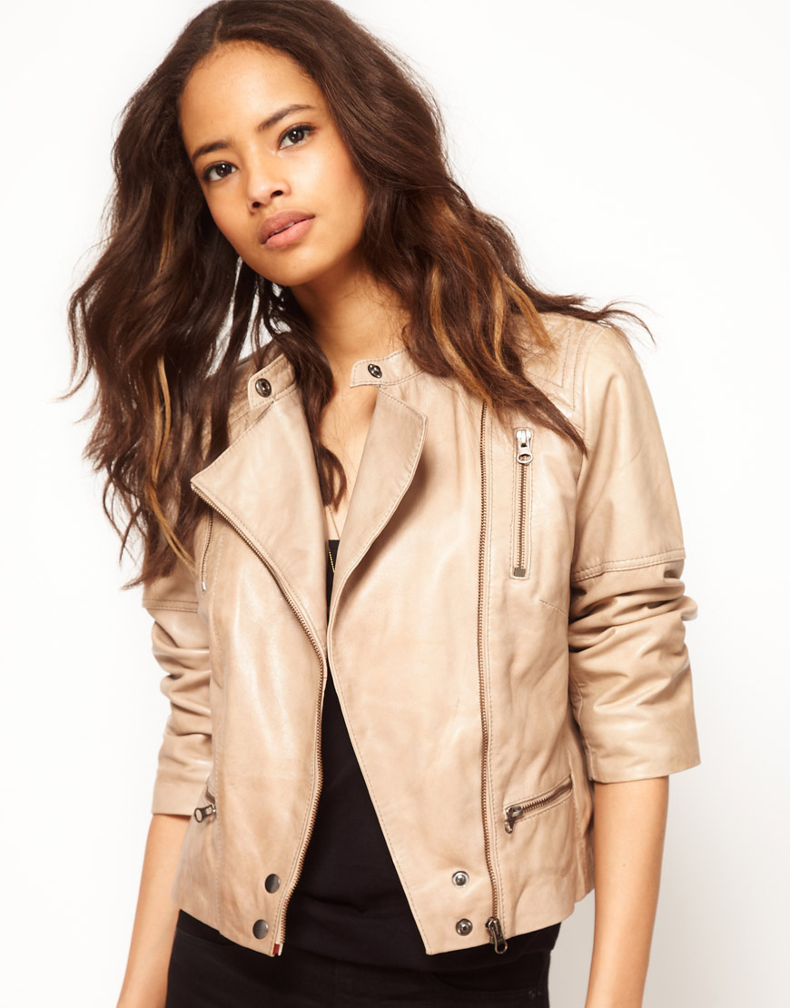 ASOS Premium Quilt Bach Nude Leather Jacket