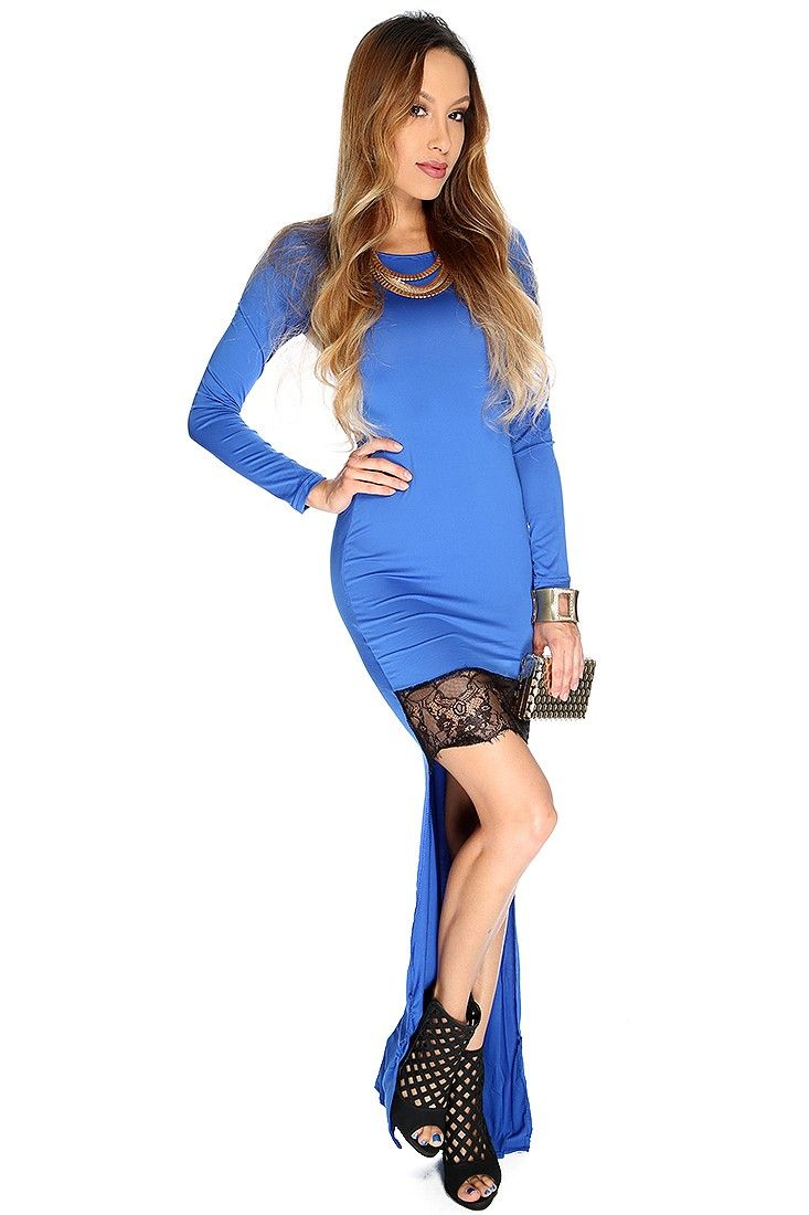 Sexy Royal Blue Long Sleeve Lace Trim High Low Party Dress