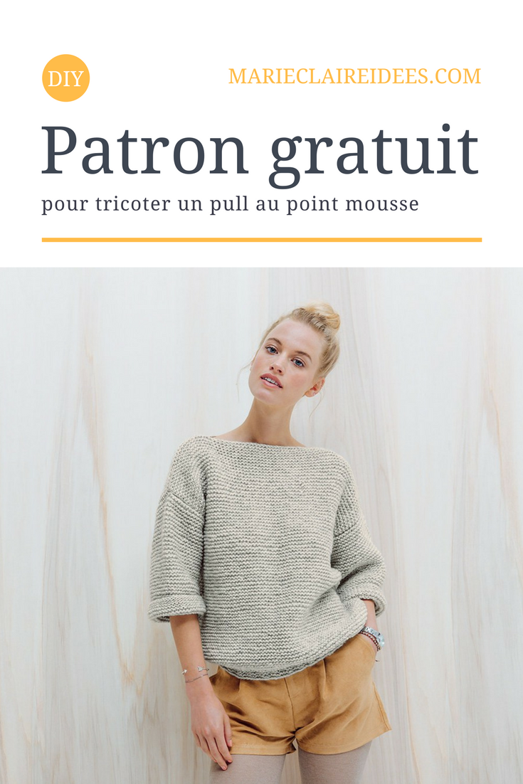 patron gratuit pour tricoter un pull au point mousse tricot knitting tricot pull diy pull. Black Bedroom Furniture Sets. Home Design Ideas